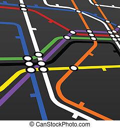 esquema, pretas, metro