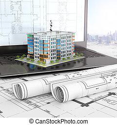 esquema, projects., residencial, laptop, ilustração, casa, abertos, desenho, 3d