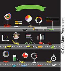 esquema, transporte, infographoc, elementos