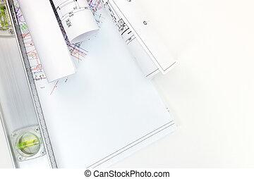 esquemas, espacio de trabajo, nivel, arquitecto, arquitectónico, rollos, proyectos