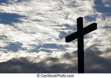 esquerda, crucifixos, em, a, céu