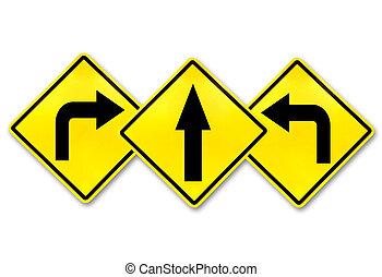 esquerda, volta, direito, direita, sinais