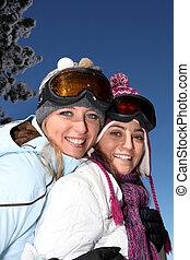 esqui-desgastar, meninas