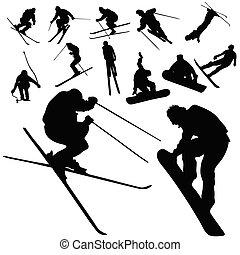 esqui, e, snowboarding, pessoas, silueta