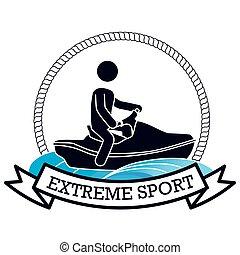 esqui jato, desenho, desporto, bandeira, extremo
