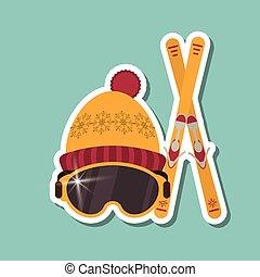 esqui, vetorial, desporto, desenho, ilustração