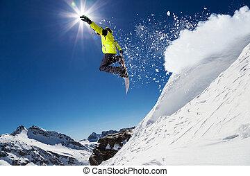 esquiador alpino, ligado, piste, esquiando declive