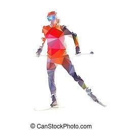 esquiador, cruz, ilustración, país, vector, polygonal, aislado, esquí, bajo