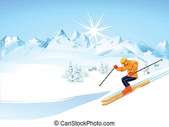 esquiador, en, montañas altas