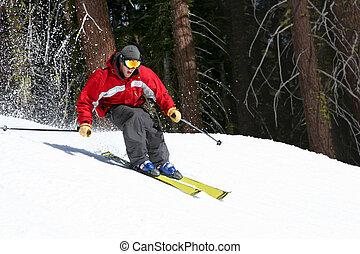 esquiador, en, un, pendiente