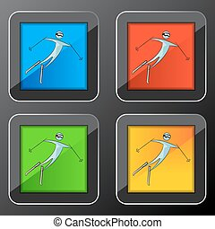esquiador, jogo, ícone