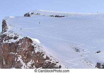 esquiador, nieve, freeride, polvo, esquí, fresco