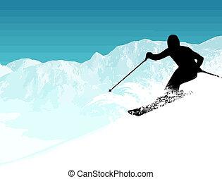 esquiador, silueta, ligado, a, montanhas