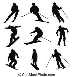 esquiador, y, snowboarder., conjunto, de, vector, siluetas