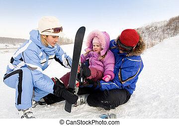 esquiadores, família