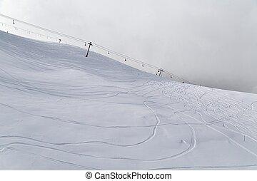 esquiando, declives, em, alpes