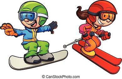 esquiando, e, snowboarding, crianças