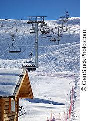 esquiando, elevador, início, 2