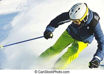 esquiando, ligado, neve fresca, em, inverno, estação, em,...