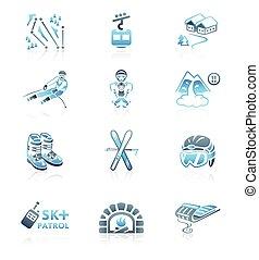 esquiando, recurso, ícones, ||, marinho, serie