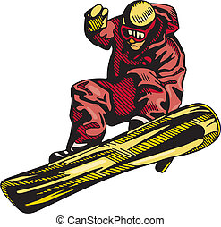 esquiando, &, snowboarding