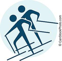 esquiar campo través, icono