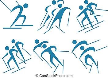 esquiar campo través, iconos