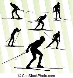esquiar campo través, vector, plano de fondo, con, sol