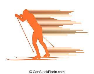 esquiar campo través, vector, plano de fondo, concepto