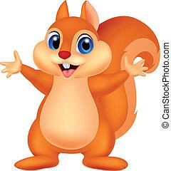 esquilo, caricatura, waving, mão
