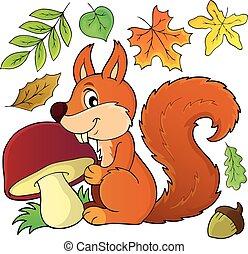 esquilo, cogumelo