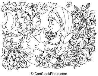 esquilo, freckles, dormir, anti, menina, coloração, caricatura, olhar, flowers., livro, floresta preta, ilustração, white., criança, adults., zentangl, tensão, doodle., rosto, vetorial, dwellers.