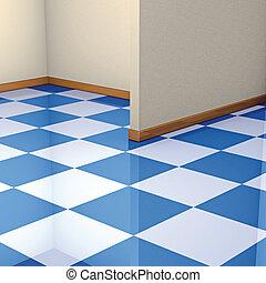esquina, azulejos, piso