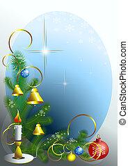 esquina, de, el, árbol de navidad, con, c