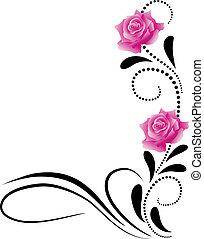 esquina, decorativo, floral, ornamento