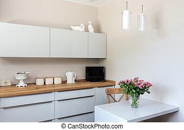 esquina, espacio brillante, -, cocina
