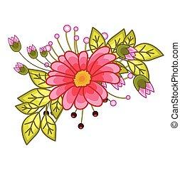 esquina, flor, elemento, diseño