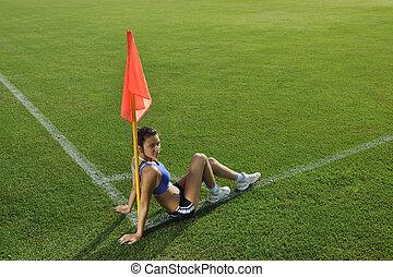 esquina, futbol, mujer, joven, estadio