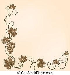 esquina, marco, con, uvas, y, hojas