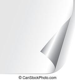 esquina, papel, (vector), rizado