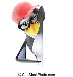 esquina, pingüino, píos, redondo, 3d
