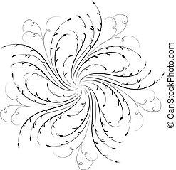 esquina, vector, flor, diseño, elemento