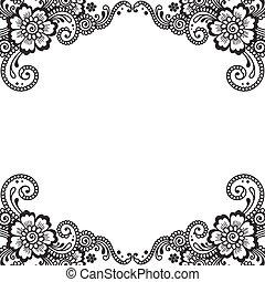 esquina, vector, ornamento, flor