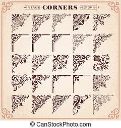 esquinas, diseño determinado, elementos