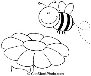 esquissé, abeille, voler plus, fleur