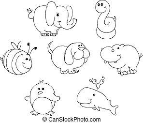 esquissé, animal, doodles