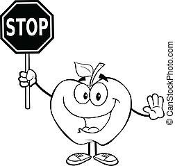 esquissé, arrêt, pomme, tenue, signe