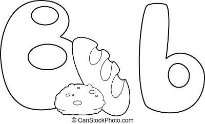 esquissé, b, lettre, pain
