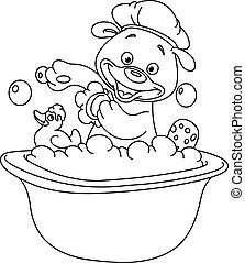 esquissé, bain, prendre, ours, teddy