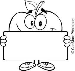 esquissé, bannière, pomme, tenue